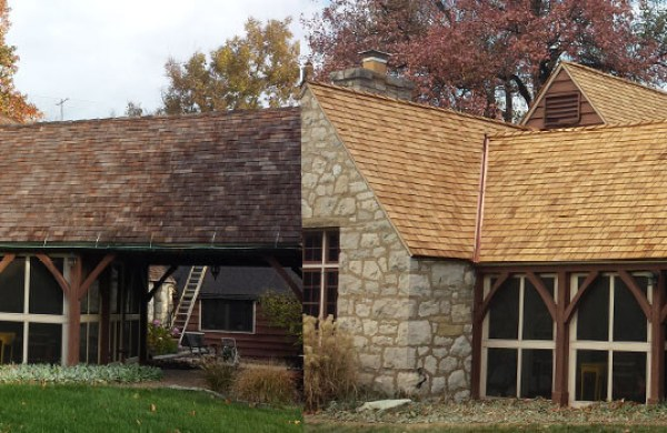 Wood Roof Cleaning Process