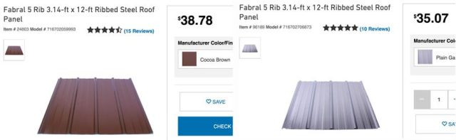 Lowe's Metal Roof Prices for 3x12 ft. panels