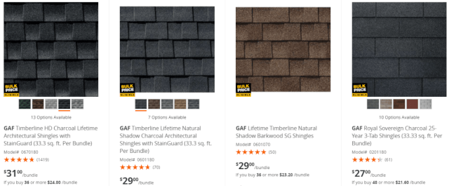 Prices for Home Depot Shingles