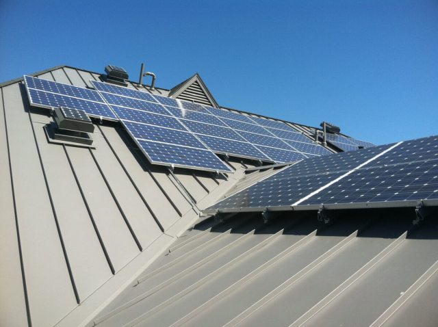 Solar Panels Installed on Standing Seam Metal Roof
