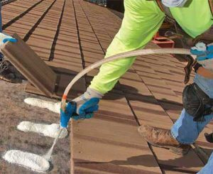 Installing roof tiles with polyurethane foam