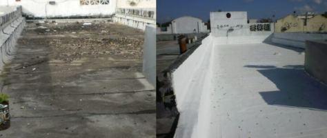 Flat roof coating application