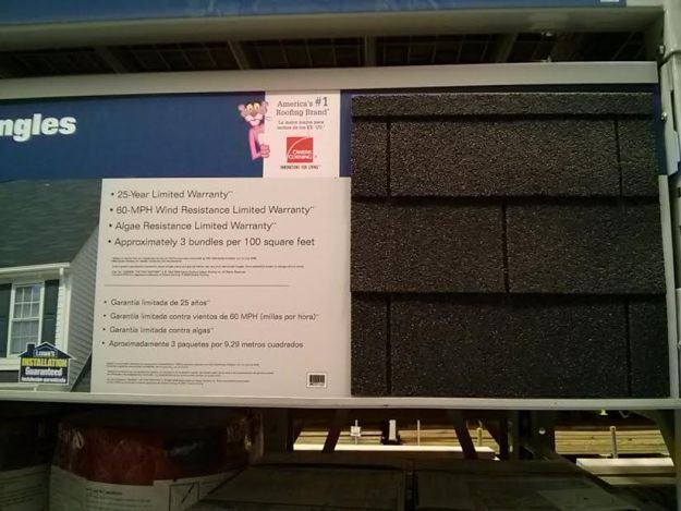25 year shingles 3 tab display
