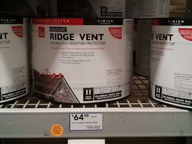 Ridge vent roll on display at Lowe's