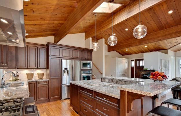 A-modern-kitchen-with-wooden-ceilings