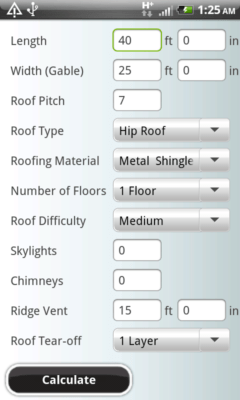 Image of Roofing Calculator app main screen