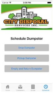 City Disposal Services, Inc. releases dumpster rental app, available for both Android and Apple devices.