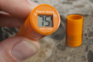Portable moisture meters can detect relative humidity in concrete.