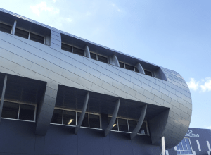 Zinc was chosen to clad the façade of this unique structure.