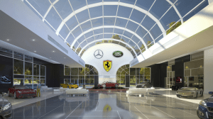 A car dealership makes good use of a vaulted commercial skylight. PHOTO: Skyco Skylights