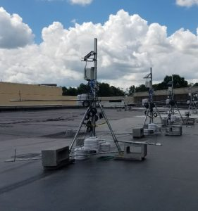 Equipment tripods are set up to hold air temperature and EMT temperature sensors.