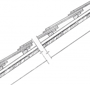 Image 21. This detail shows roof tiles on a lath grid supported by a protected plank surface. Source: Course on Finishing Systems, 1989, Alexandru Stan, Professor of Architecture.