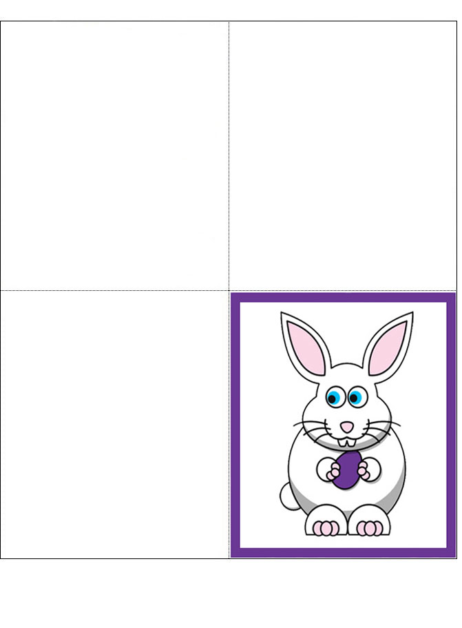Easter Bunny Four Fold Card Rooftop Post Printables