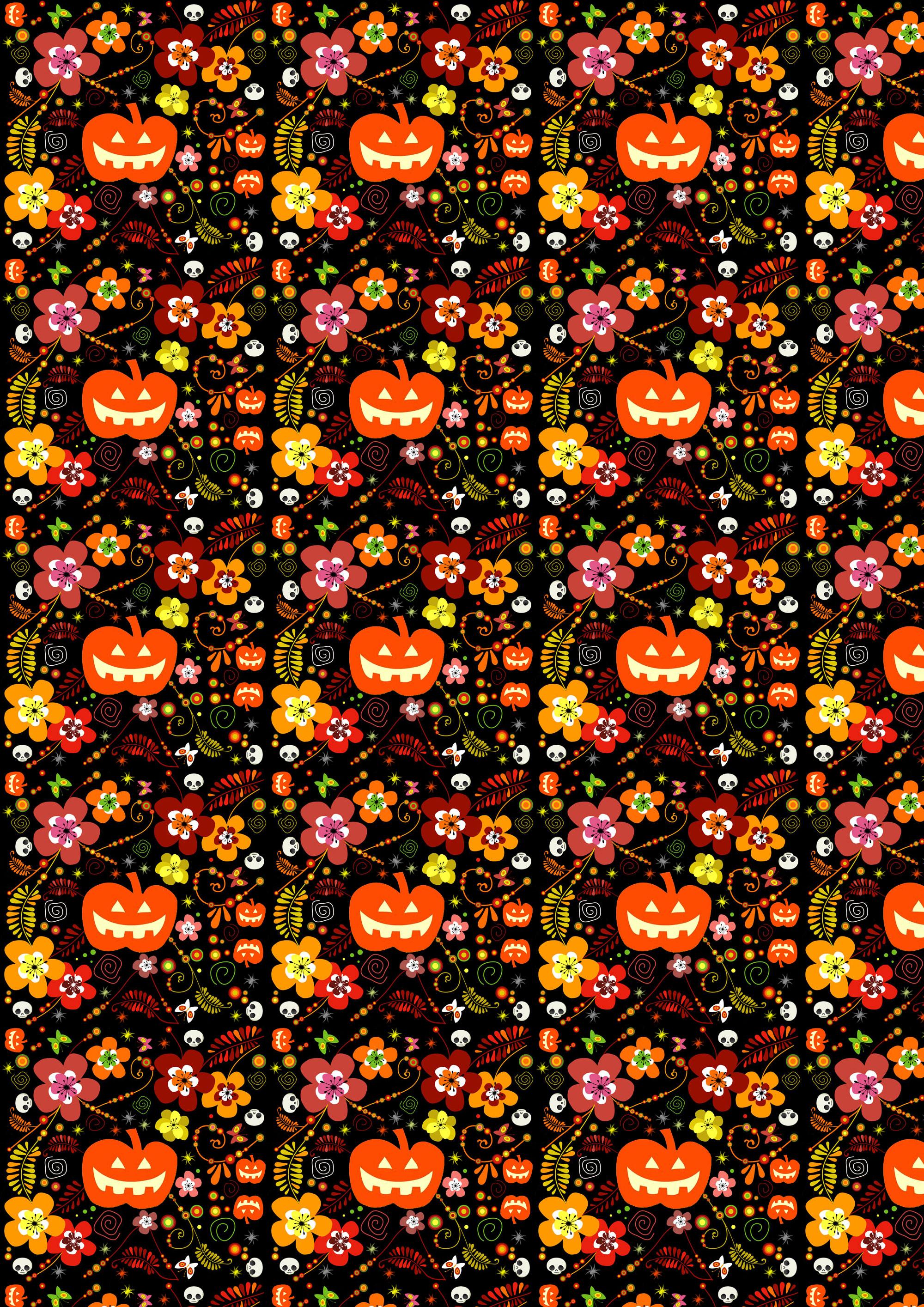 Free Scrapbook Paper Halloween Pumpkins And Flowers