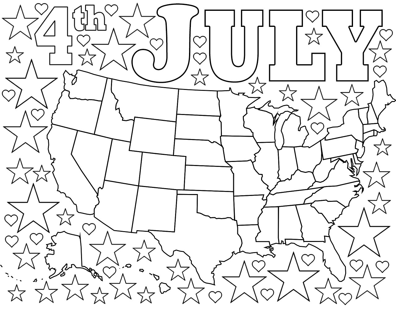 4th July Coloring Page Map Of Usa With Stars And Hearts