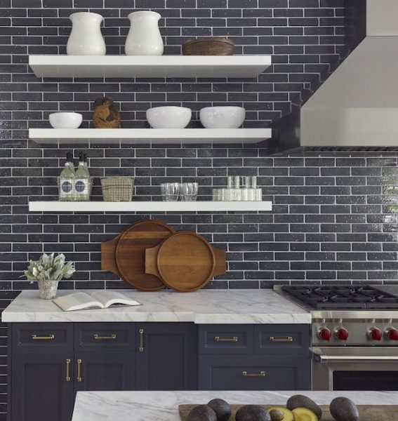 how to style blue kitchen cabinets in