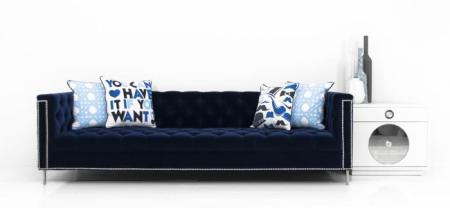 www roomservicestore com   Hollywood Sofa in Regal Navy Velvet Hollywood Sofa in Regal Navy Velvet