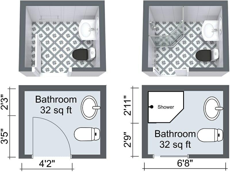 small bathroom with pocket door