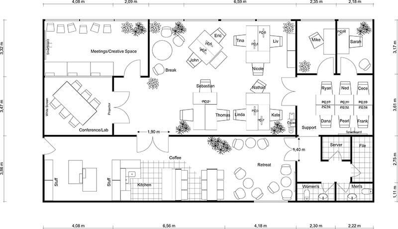 Office interior design floor plans for Billings plan room