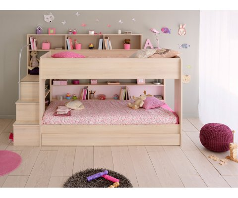 Bibop 2 Bunk Twin Over Bed With Trundle Mattresses Included