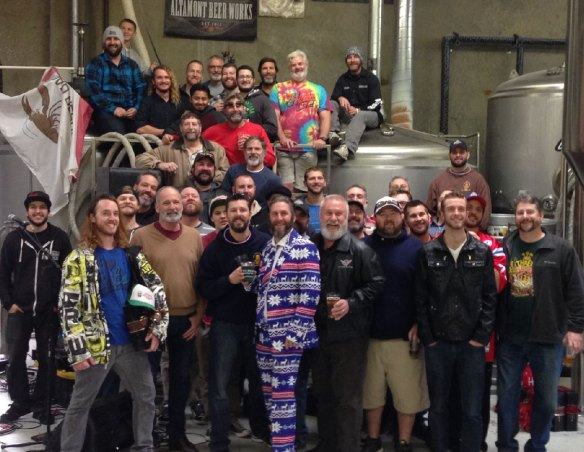 This is a group picture of the First Street Alehouse beard growers at Altamont Beer Works.