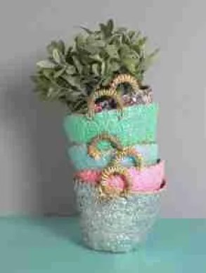 Etsy gift guide handwoven sequin baskets plant pot