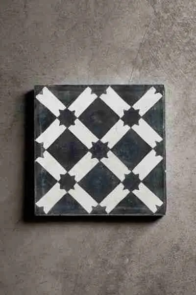 Roomy Home concrete interior luxe Rockett St George handmade concrete tile black and white star design