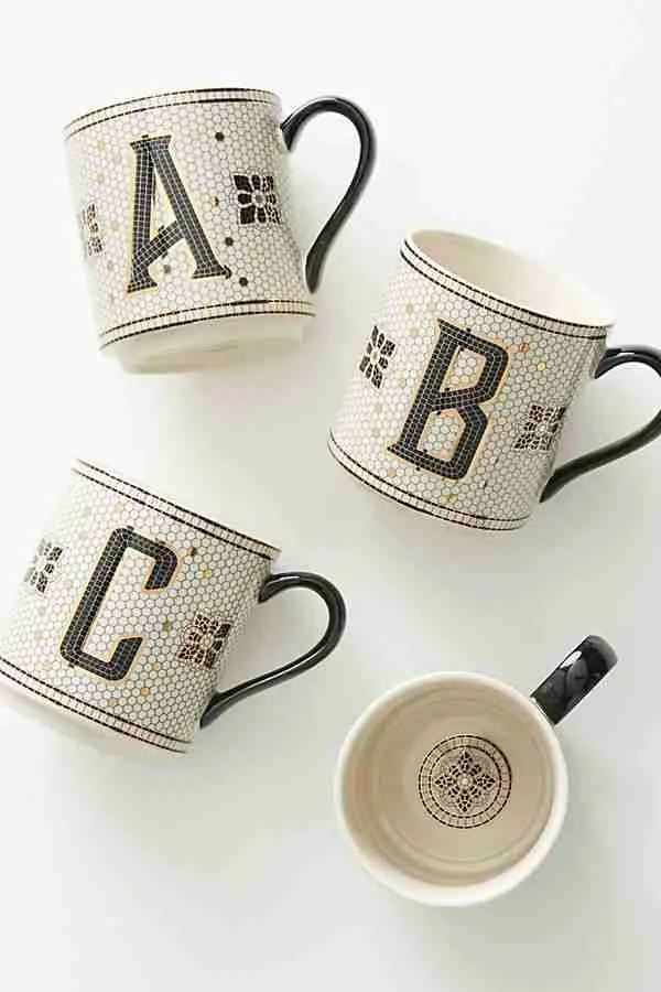 Tiled Margot Monogram mug Anthropologie