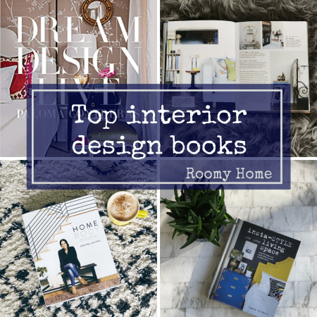 Top interior design books Roomy Home blog post graphic