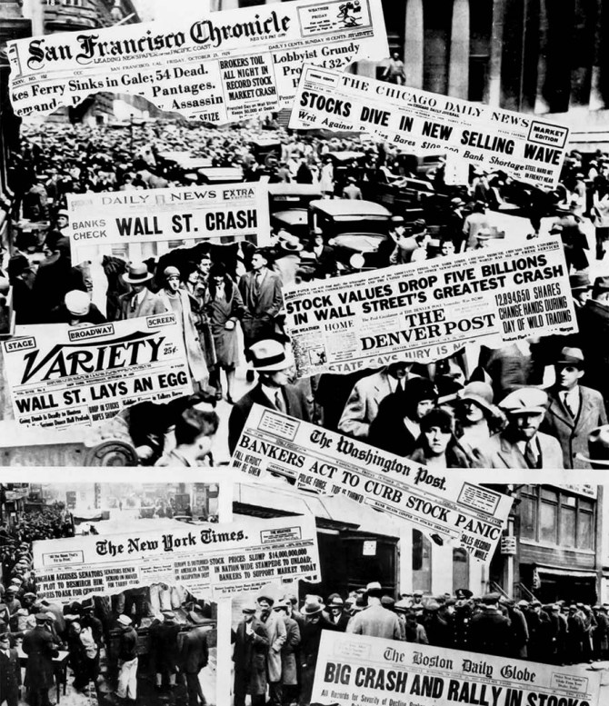 """Newspaper headlines about the stock market crash, including the famous """"Wall Street Lays an Egg,"""" on the cover of Variety, October 30, 1929. (Anonymous)"""