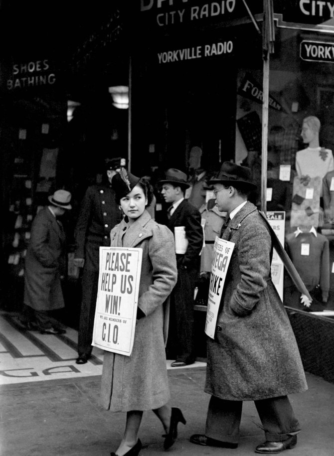 Strike pickets. New York City. 1937.