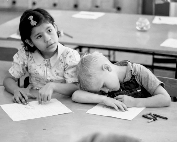 Third grade, elementary school in FSA migrant camp. Weslaco, Texas 1942