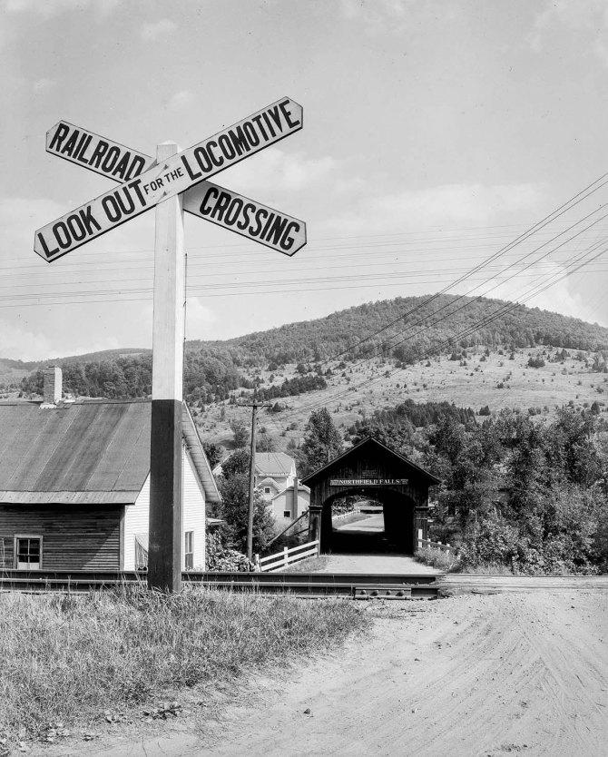 Covered railroad bridge, Northfield Falls, Vermont. 1937.