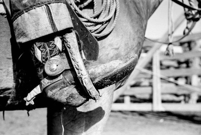 Cowboy's boot and spurs, Quarter Circle 'U' Ranch. Big Horn County, Montana. 1939.
