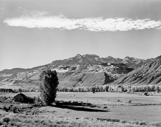 Farm at foot hills of the Rocky Mountains.Ouray County, Colorado. 1939.