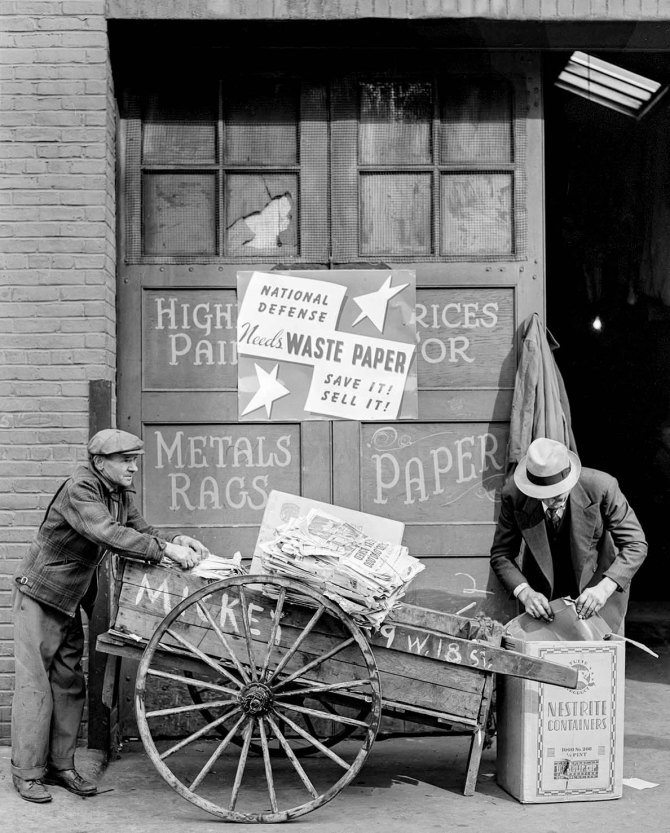 Junk men with waste paper for defense. New York City. 1941.