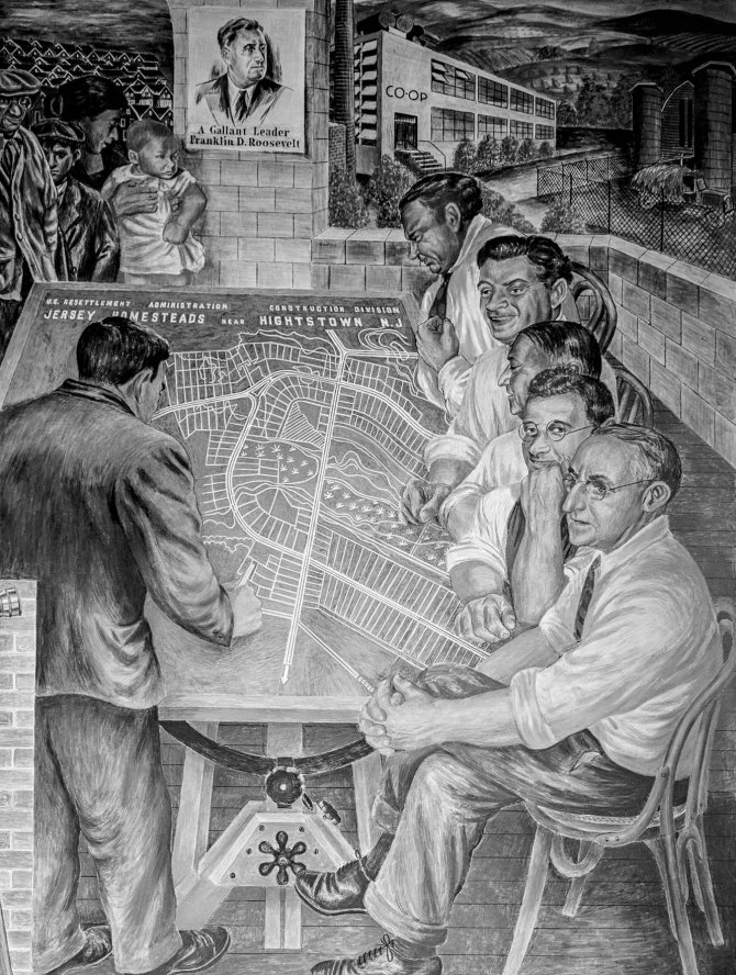 """Detail of mural panel, painted by Ben Shahn, installed at the community building of Jersey Homesteads. Hightstown (now """"Roosevelt""""), New Jersey. 1938."""