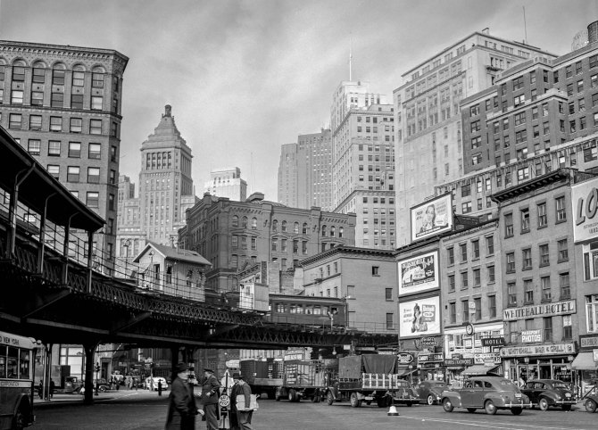 Elevated structure and buildings along Whitehall Street in Lower Manhattan. 1941.