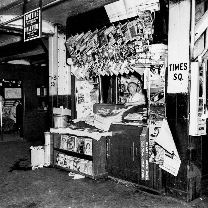 News Stand on the Times Square subway platform.New York City. 1943.