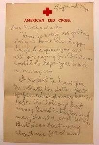 handwritten letter on red cross stationary