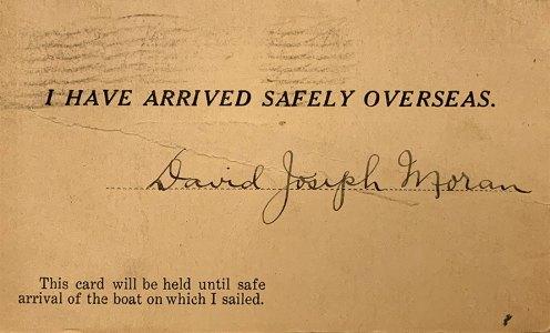 """Signed """"arrived safely"""" card"""