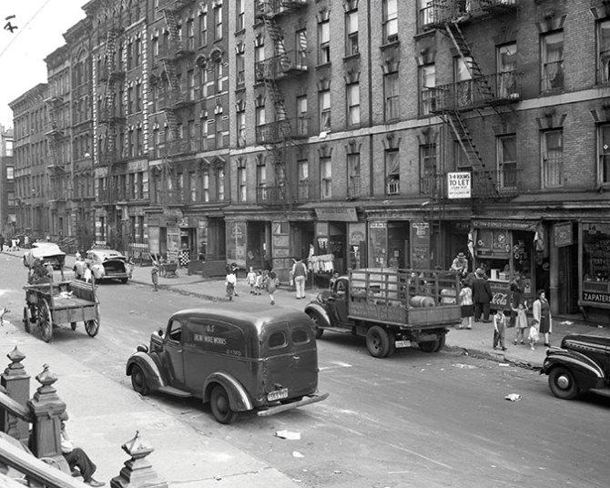 Tenements similar to those razed for Harlem River Houses. East Harlem. 1944.