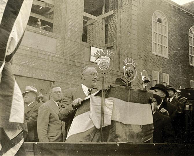 President Roosevelt at Brooklyn College. Foundation stone dedication of Roosevelt Hall, 1936.
