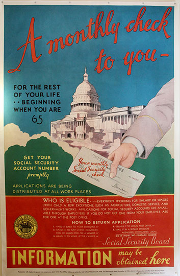 Social security banner, 1936. Reproduction. (FDRL)