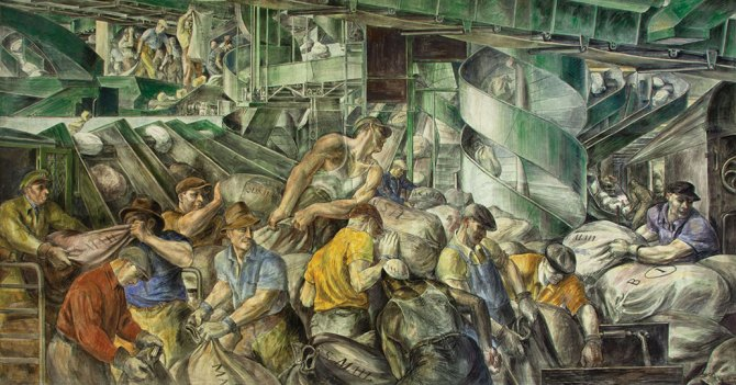 Sorting the Mail. Reginald Marsh. 1936. U.S. Post Office Department Building (now the Ariel Rios Federal Building), 12th Street and Pennsylvania Avenue, NW, Washington DC.