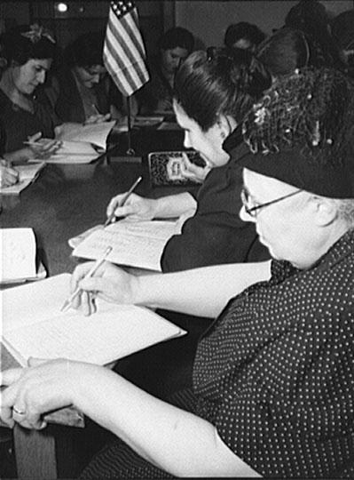 Italian Women with Flag. Marjory Collins. New York, NY. January 1943.