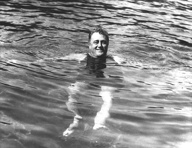 FDR in therapeutic pool at Warm Springs