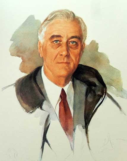 Unfinished portrait of FDR by artist Elizabeth Shoumatoff (1888-1980), April 12, 1945
