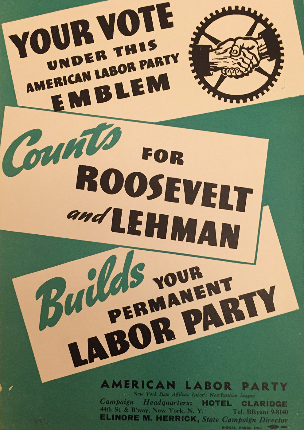 American Labor Party. 1936. (N-YHS)
