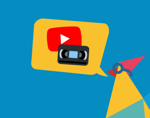 Illustration of Rooster with a gold speech bubble containing YouTube logo and video cassette tape, accompanied by a gold badge in the corner